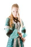 Elf girl with knife. Elf girl pulling knife out royalty free stock photo