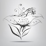 Elf girl lying in flower. Vector illustration. Elf girl lying on flower in black and white Royalty Free Stock Photo