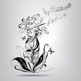 Elf girl playing the violin.Vector illustration. Girls silhouette elf playing the violin Stock Images