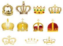 Elf gouden die kronen op wit worden geïsoleerd royalty-vrije illustratie