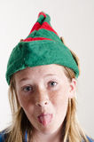 Elf hat and girl Royalty Free Stock Images