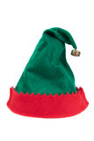 Elf hat. Red and green felt Christmas elf hat isolated on white background Stock Image