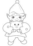 Elf holding a bear coloring page Royalty Free Stock Photography