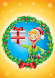 Elf holding present christmas card mistletoe background Stock Image