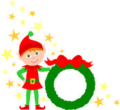 Elf-Holding-WeihnachtsWreath Stockfotos