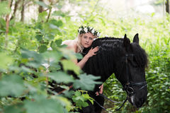 Elf and horse Stock Photography