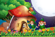 Elf and house Royalty Free Stock Images