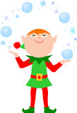 Elf Juggling Snowballs/eps. Illustration of a cute Christmas elf juggling snowballs...one of a set of eight matching elves in my portfolio Royalty Free Stock Images