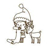 Elf with list gifts and reindeer avatar character. Vector illustration desing vector illustration