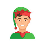 Elf little helper of Santa Claus. Happy child in a festive costume. Concept Christmas icon avatars. Vector illustration on white background for web design for royalty free illustration