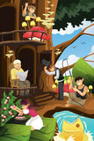 Elf living in the tree house Stock Photos