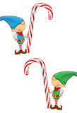 Elf Mascot - Holding A Candy Cane Stock Photography