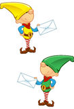 Elf Mascot - Holding Letter Royalty Free Stock Photo