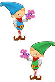 Elf Mascot - Holding A Present Stock Images