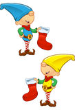 Elf Mascot - Holding Stocking Royalty Free Stock Photography