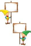 Elf-Maskottchen - Holding-hölzernes Zeichen Stockbild