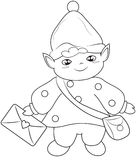 Elf messenger coloring page Royalty Free Stock Photo