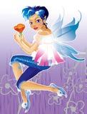 Elf mit dem blauen Haar stock abbildung