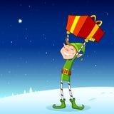 Elf mit Geschenk-Kasten lizenzfreie abbildung