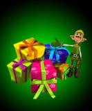 Elf mit Lots Geschenken Stockbilder