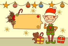 Elf montrant la bannière vide pour la décoration de vacances d'hiver de concept de Joyeux Noël et de bonne année des textes Image libre de droits