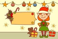 Elf montrant la bannière vide pour la décoration de vacances d'hiver de concept de Joyeux Noël et de bonne année des textes Photos stock