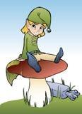 Elf on mushroom. Funny little elf sitting on mushroom, cartoon style Royalty Free Stock Image