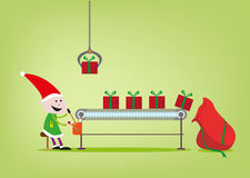 An elf operates the assembly line for Santa Claus giftgiving factory. Gifts are being prepared for delivery at Santa's toy or gift assembly line. Vector and Jpg vector illustration