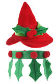 Elf outfit. Cute elf hat and collar isolated on white background Royalty Free Stock Images