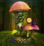 Elf place in the misty woods. Elf enchanted place in the forest with colorful mushrooms and a clock - 3D illustration stock illustration