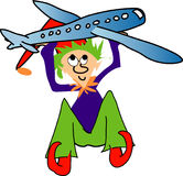 Elf with plane. Busy time in the workshop with Christmas on the way stock illustration
