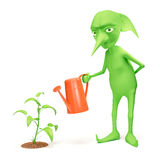 Elf and plant Stock Photo