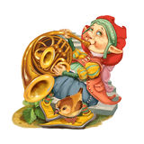 Elf plays congratulatory march on a french horn. Stock Photography