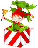 Elf Popping out of a Christmas Box Stock Images