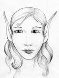Elf portrait - pencil sketch royalty free stock photo