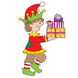 Elf with Present Royalty Free Stock Images