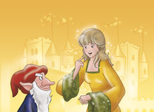 Elf and princess - fairy tales Stock Image