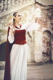 Elf princess. An elf princess lights up with lantern the way to the castel Stock Image