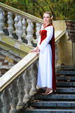 Elf princess. An elf princess standing on the stairs in old castle stock image