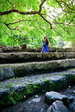 Elf princess on stone staircase Stock Photography