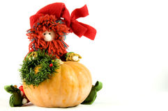 Elf and pumpkin Stock Photography