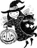 Elf with a pumpkin and cat Stock Photos