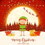 Elf on Red Winter Background with Gifts and Christmas Lights. Happy elf with colorful Christmas lights and gifts on snow. Santa with reindeer and text Merry royalty free illustration