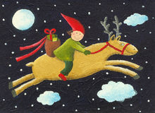 Elf on reindeer Stock Photography