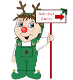 Elf and Reindeer Games sign. Christmas illustration, elf holding reindeer games sign Royalty Free Stock Photo