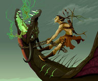 Elf is riding the dragon. Vector fantasy illustration Stock Image