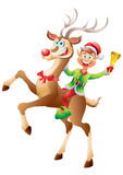 Elf riding reindeer with christmas bell isolated Stock Image