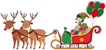 Elf riding on sledge with two reindeers. Illustration Stock Photo