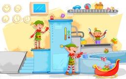 Elf robi Bożenarodzeniowym prezentom w zabawkarskiej fabryce Obraz Royalty Free