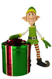 Elf santa helper present Royalty Free Stock Photo